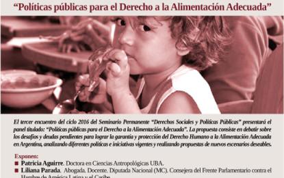 """Seminario Permanente Derechos Sociales y Políticas Públicas: """"Políticas públicas para el derecho a la alimentación adecuada"""""""