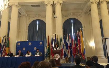 """Presentación de Laura Pautassi  en la mesa redonda """"¿De la exclusión a la igualdad en América Latina? Más derechos para más gente con participación ciudadana""""organizada por la OEA."""
