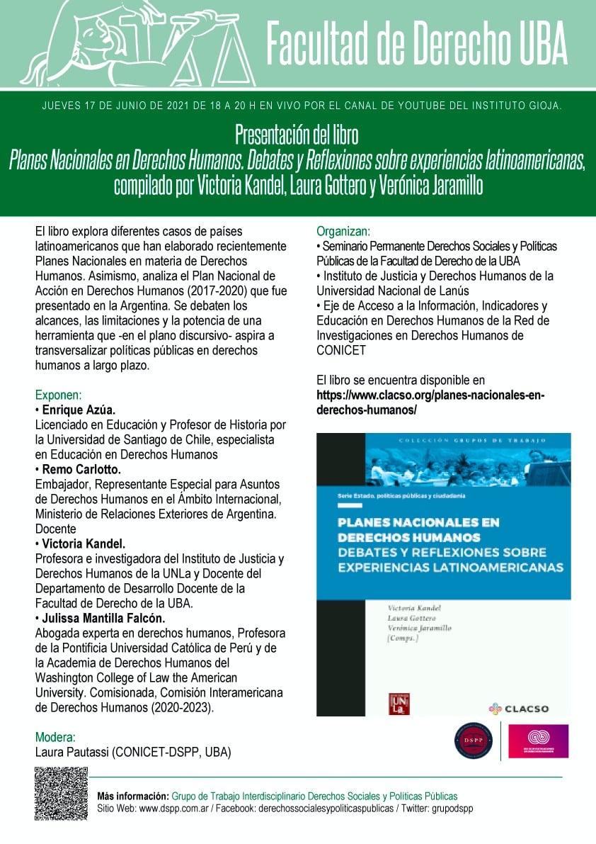 Presentación del libro: Planes Nacionales en Derechos Humanos: debates y reflexiones sobre experiencias latinoamericanas