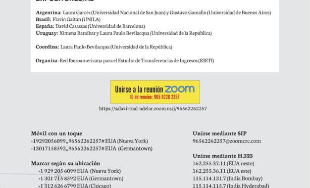 Seminario Virtual RIETI «Transferencias de ingresos frente a la pandemia COVID-19. Respuestas estatales y horizontes de transformación. Los casos de Argentina, Brasil, Uruguay y España»
