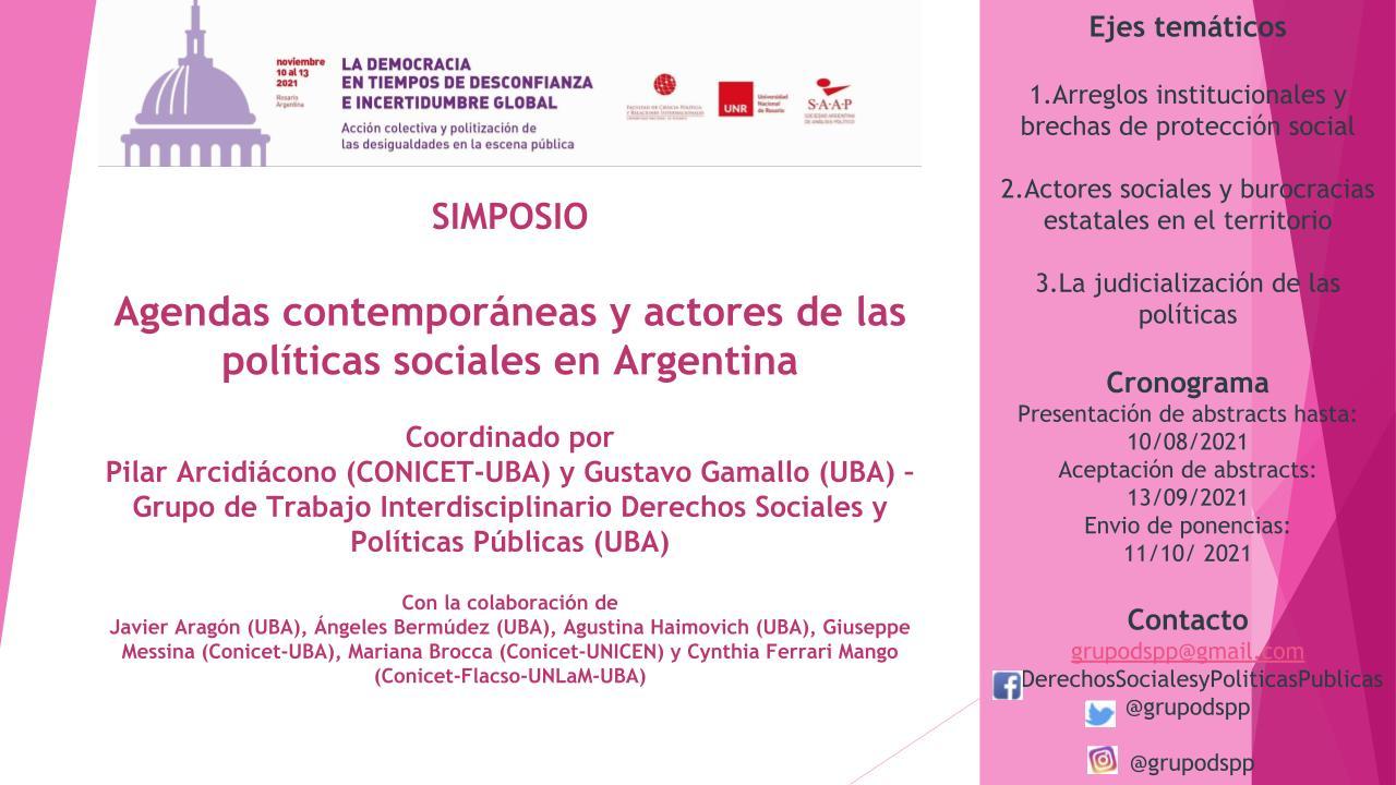 CONVOCATORIA A SIMPOSIO Agendas contemporáneas y actores  de las políticas sociales en Argentina