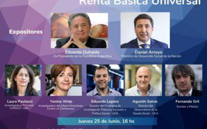 Participación de Laura Pautassi en la Mesa de Debate Renta Básica Universal. Escuela de Política y Gobierno UCA