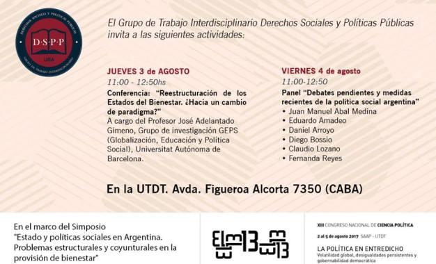 Actividades en el marco del Congreso de Ciencia Política SAAP- 3 y 4 de agosto